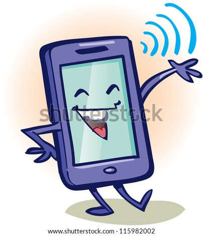 Smiling and waving smartphone device, vector illustration - stock vector