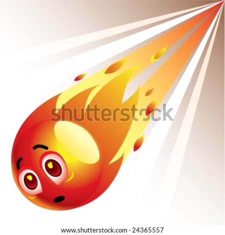 Smiling ball as comet - stock vector