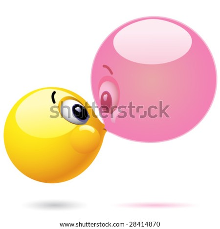 Smiling ball blowing chewing ball bubble - stock vector