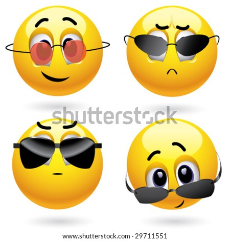 Smiling ball wearing cool glasses - stock vector