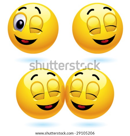 Smiling ball winking and blinking - stock vector