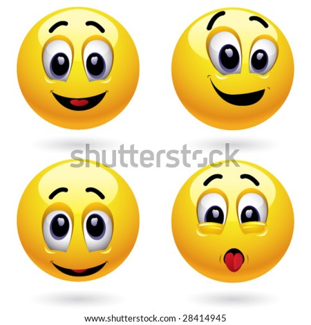 Smiling balls - stock vector