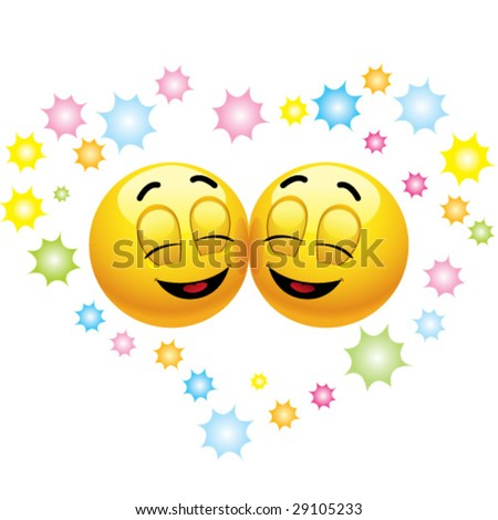 Smiling balls happily in love - stock vector