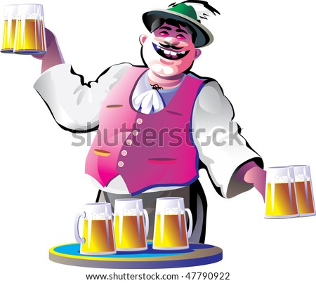 smiling bartender with beer glasses - stock vector
