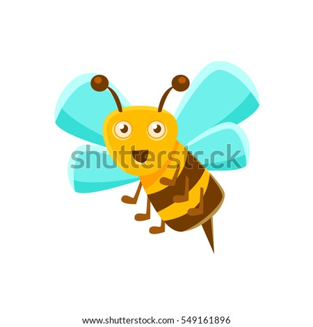 Smiling Bee Mid Air With Sting, Natural Honey Production Related Carton Illustration