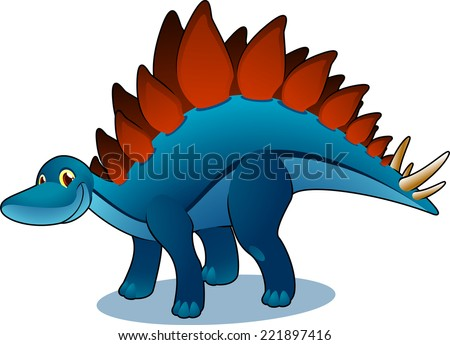 Smiling blue and brown side standing posture Stegosaurus vector illustration. - stock vector