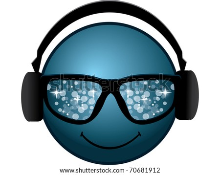 smiling blue smiley with glasses and headphones - stock vector