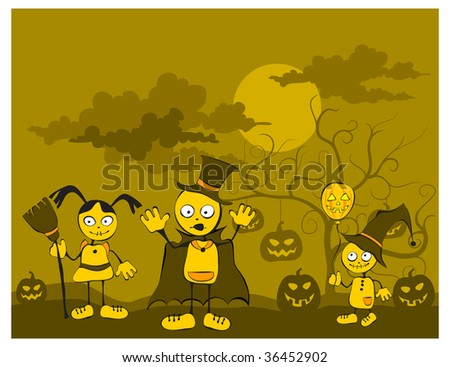 Smiling boy, girl and baby against tree with pumpkins, Halloween vector illustration