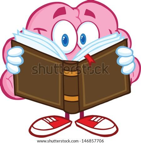 Smiling Brain Cartoon Character Reading A Book. Vector Illustration - stock vector