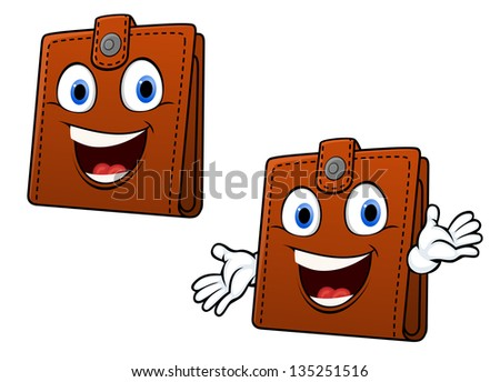 Smiling brown leather purse with hands in cartoon style for home finance concept design. Jpeg version also available in gallery - stock vector