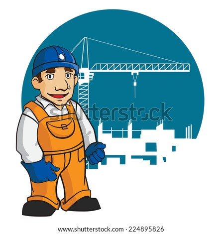 Smiling builder in cartoon style for design construction industry - stock vector