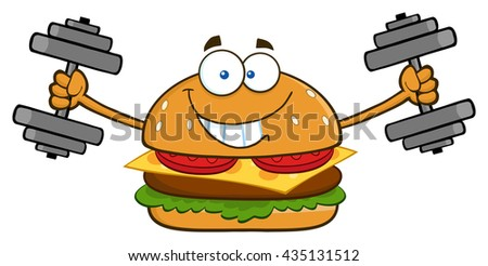 Smiling Burger Cartoon Mascot Character Working Out With Dumbbells. Vector Illustration Isolated On White Background