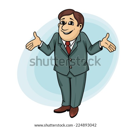 Smiling businessman or manager in cartoon style be surprised - stock vector