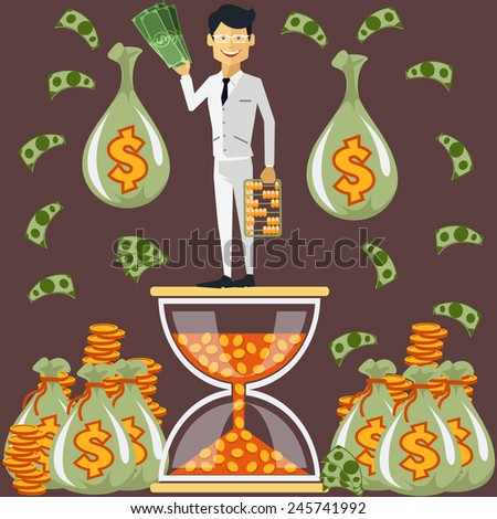 Smiling businessman standing on the hourglass in which coin holding dollars near bags of money. Winnings in lottery. Time is money concept. Flying around dollar notes cartoon flat design style - stock vector