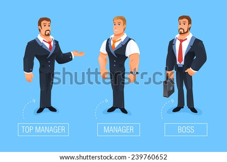 Smiling businessman vector Illustration of cartoon boss, manager greeting for advertising and presentation. Eps 10 - stock vector