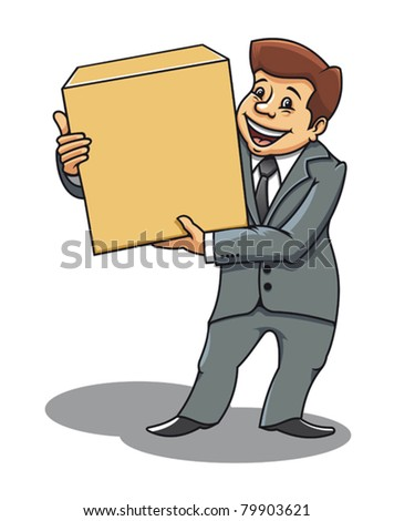 Smiling businessman with box for delivery concept design. Jpeg version also available in gallery