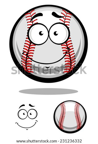 Smiling cartoon baseball ball with red stitching and googly eyes with a second plain variant with separate smile element, vector illustration isolated on white - stock vector