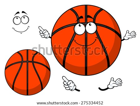 Smiling cartoon basketball ball with a cute grin and waving arms with a second plain variant with no face and separate elements - stock vector