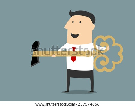 Smiling cartoon businessman opening the lock large golden key suited for crisis management or business success concept design - stock vector