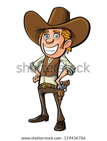 Smiling cartoon cowboy isolated on white - stock vector