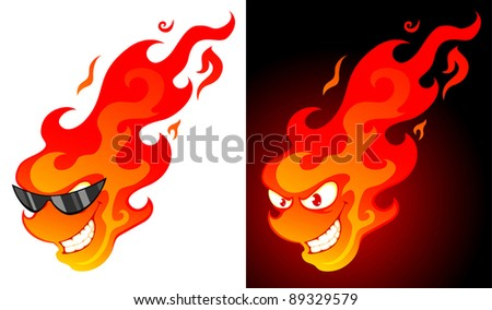 Smiling cartoon fire with on white and dark background - stock vector