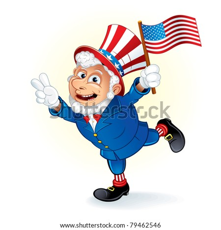 Smiling Cartoon Uncle Sam with US flag vector illustration - stock vector