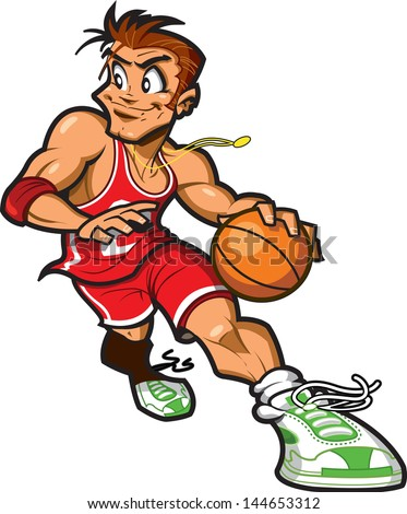 Smiling Caucasian Basketball Player Dribbling the Basketball About to Take a Shot - stock vector