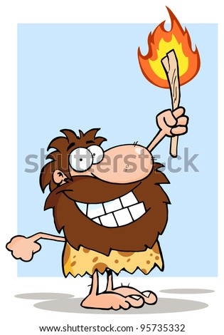 Smiling Caveman Holding Up A Torch.Vector Illustration - stock vector