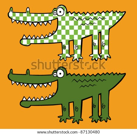 Smiling Checker Cartoon Crocodile - stock vector