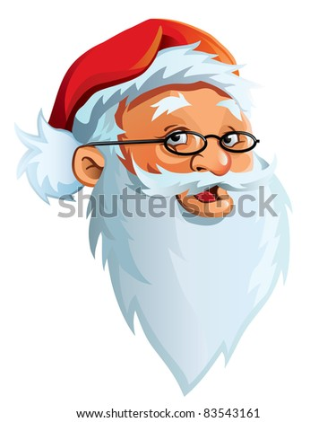 Smiling, cheerful face of Santa Claus with a big, white beard.