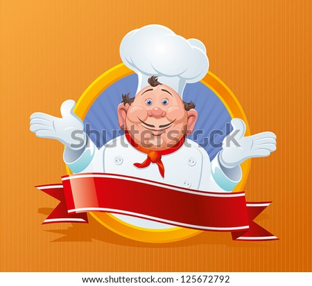 Smiling chef with a red ribbon - stock vector