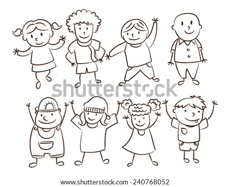 smiling children lined up - stock vector