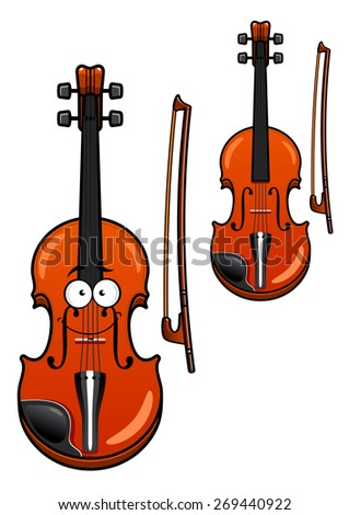 Smiling classic wooden violin cartoon character with bow isolated on white background for musical design - stock vector