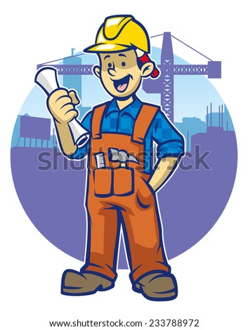smiling construction worker wear a hard hat