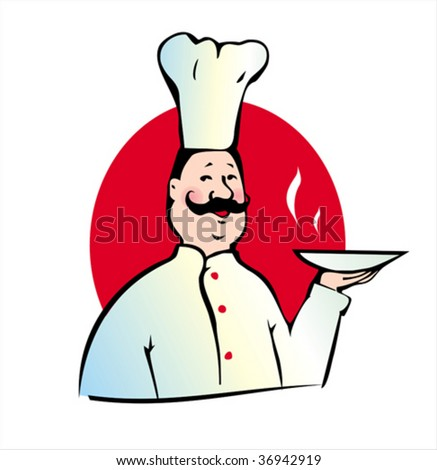 Smiling cook with hot plate on red background