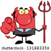 Smiling Devil Boss With A Trident And Hand Pointing Finger - stock vector