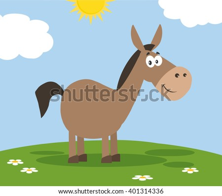 Smiling Donkey Cartoon Character. Vector Illustration Flat Design Style With Background - stock vector