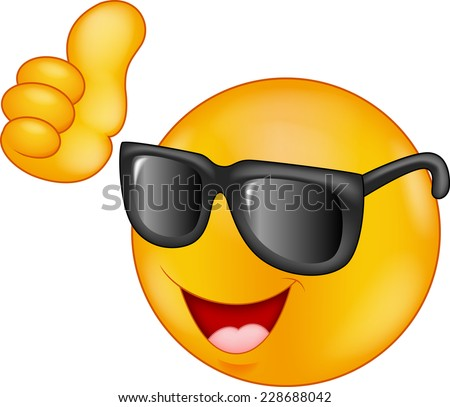 Smiling emoticon wearing sunglasses giving thumb up - stock vector