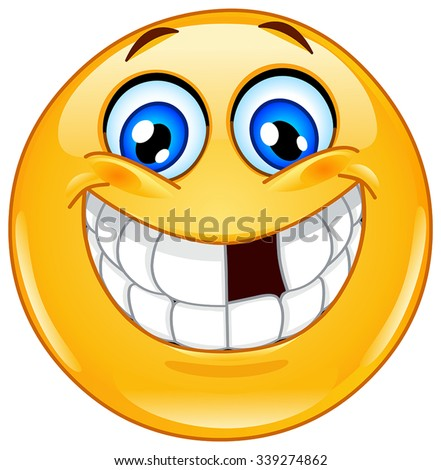 Smiling emoticon with missing tooth - stock vector