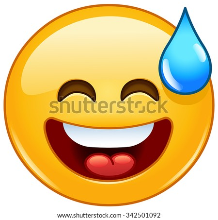 Smiling emoticon with open mouth and cold sweat - stock vector