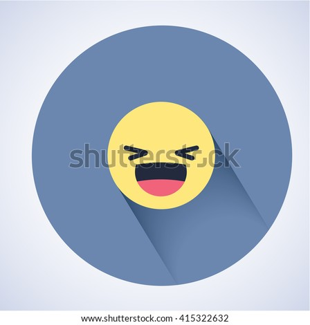 Smiling emoticon with open mouth and smiling eyes. Flat style. Shadows. Facebook new emotion smiles.  - stock vector