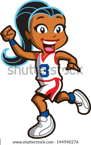 Smiling Ethnic Girl Basketball Player Running Down the Court - stock vector