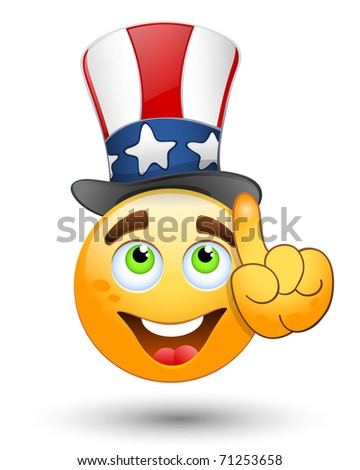 Smiling face corrects a hat. Vector illustration