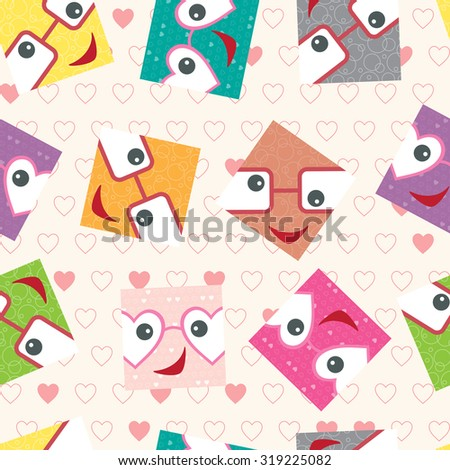 Smiling face. Funny square face with glasses seamless pattern. Colorful wallpaper for children. - stock vector