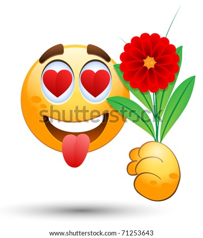 Smiling face with bunch of flowers in the hand. Vector illustration - stock vector