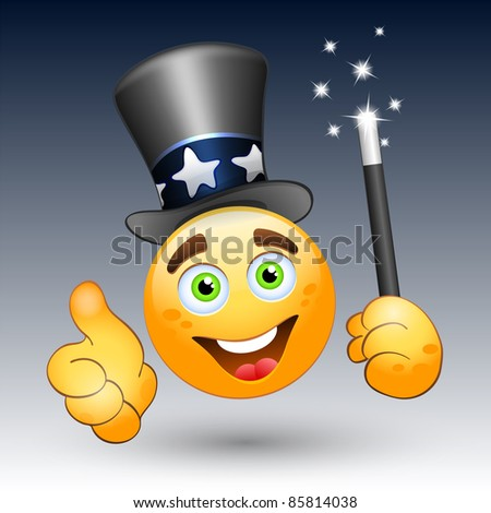 Smiling face with magic wand and magic hat. Vector - stock vector