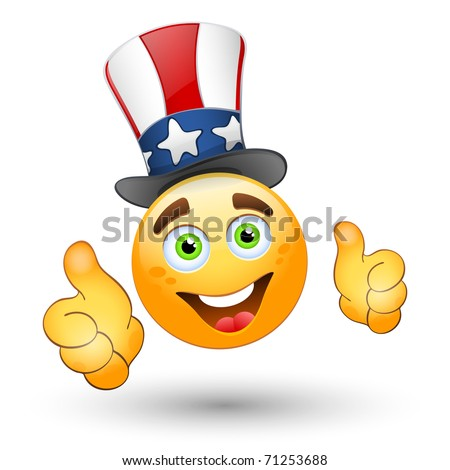 Smiling face with thumbs up and patriotic hat. Vector - stock vector
