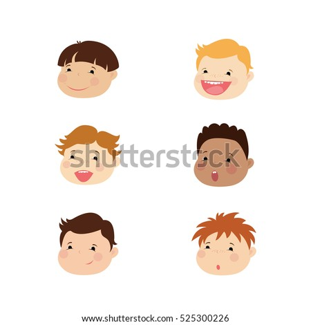 Smiling faces of boys different races,icon or avatar,cartoon vector illustration