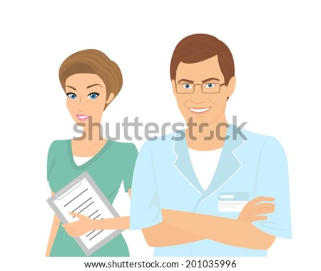 Smiling female and male doctors isolated on white. - stock vector