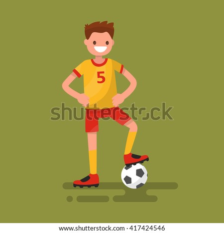 Smiling football player standing with a ball. Vector illustration - stock vector